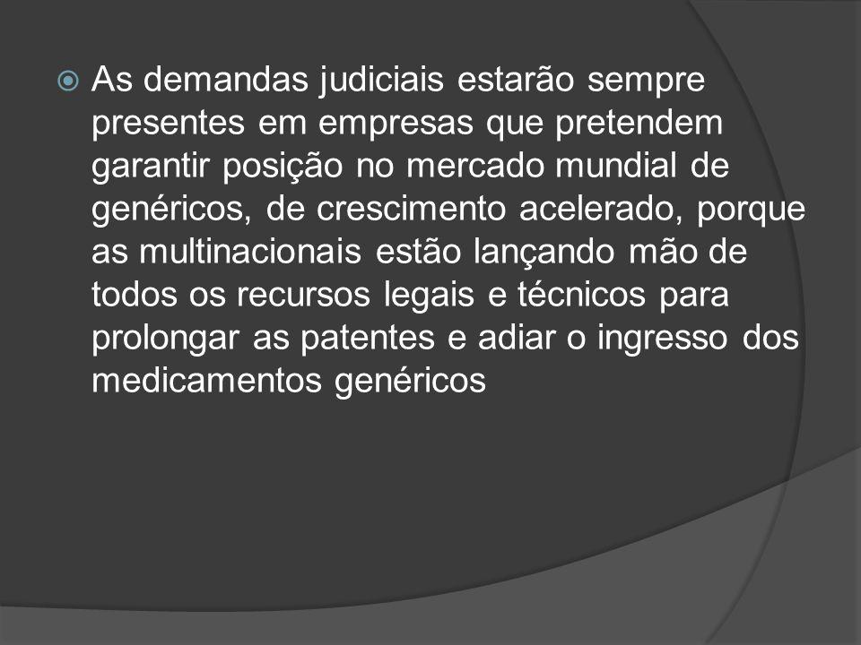 As demandas judiciais estarão sempre presentes em empresas que pretendem garantir posição no mercado mundial de genéricos, de crescimento acelerado, porque as multinacionais estão lançando mão de todos os recursos legais e técnicos para prolongar as patentes e adiar o ingresso dos medicamentos genéricos