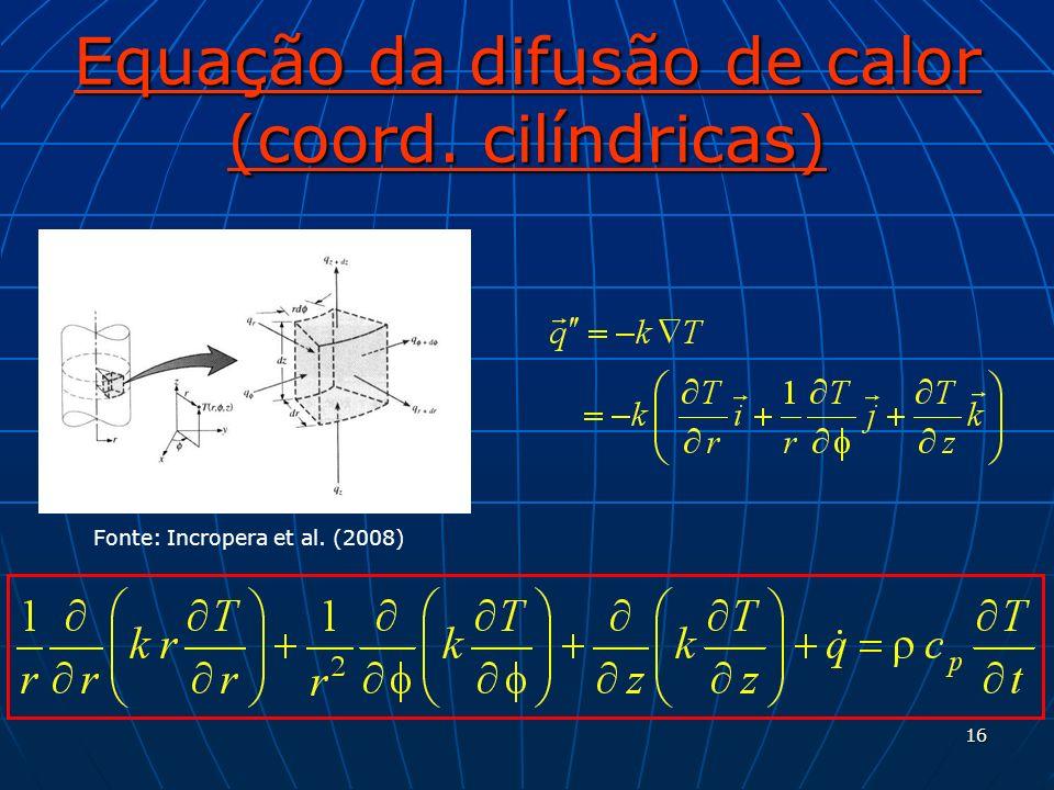 Equação da difusão de calor (coord. cilíndricas)