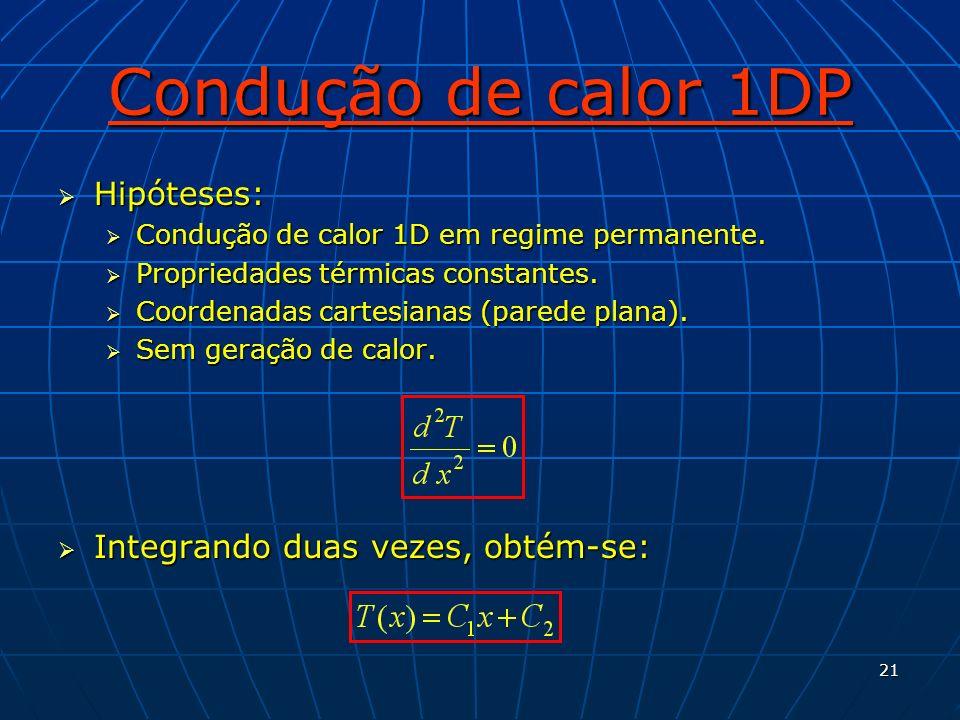 Condução de calor 1DP Hipóteses: Integrando duas vezes, obtém-se: