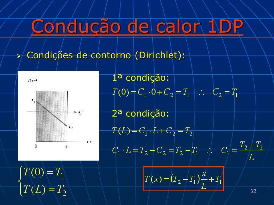 Condução de calor 1DP Condições de contorno (Dirichlet): 1ª condição: