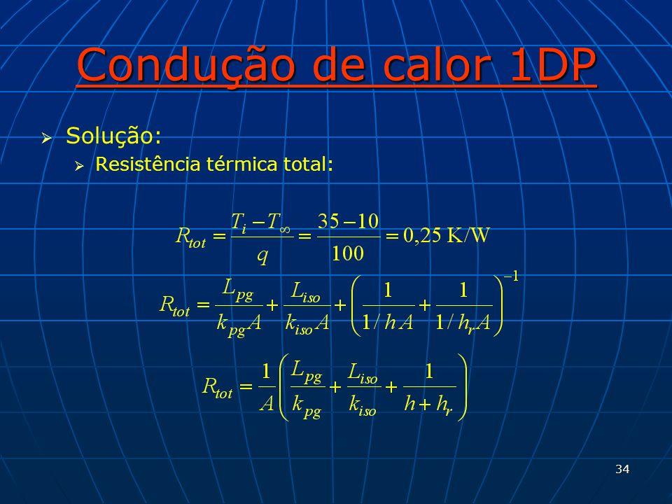 Condução de calor 1DP Solução: Resistência térmica total: