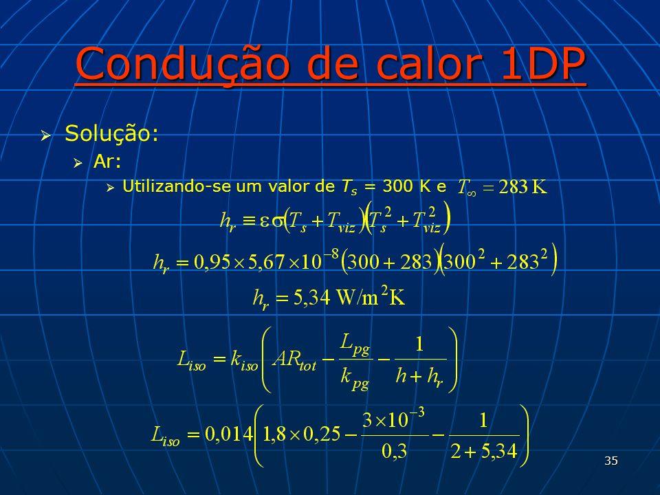 Condução de calor 1DP Solução: Ar: