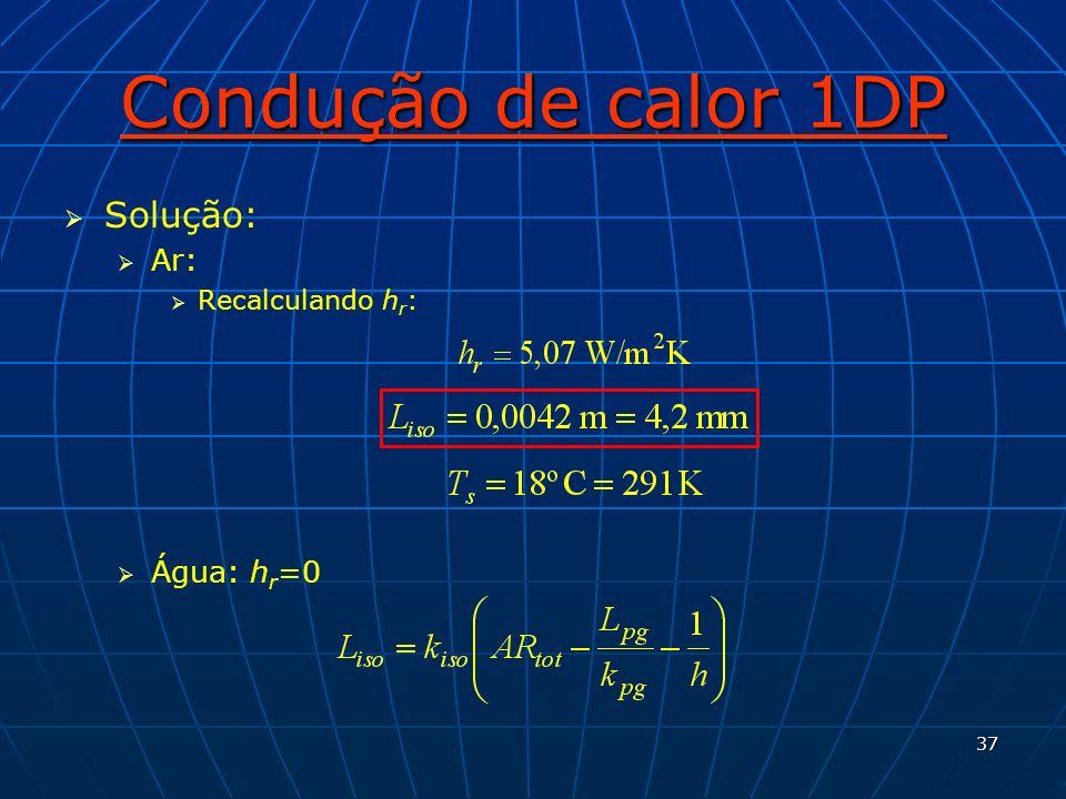 Condução de calor 1DP Solução: Ar: Recalculando hr: Água: hr=0
