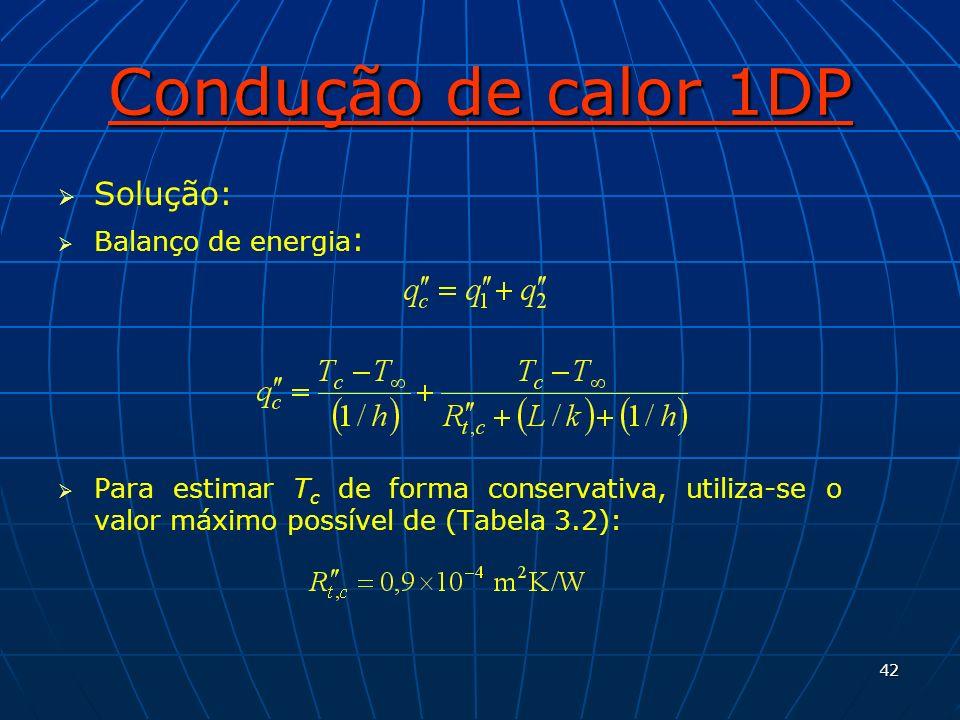 Condução de calor 1DP Solução: Balanço de energia: