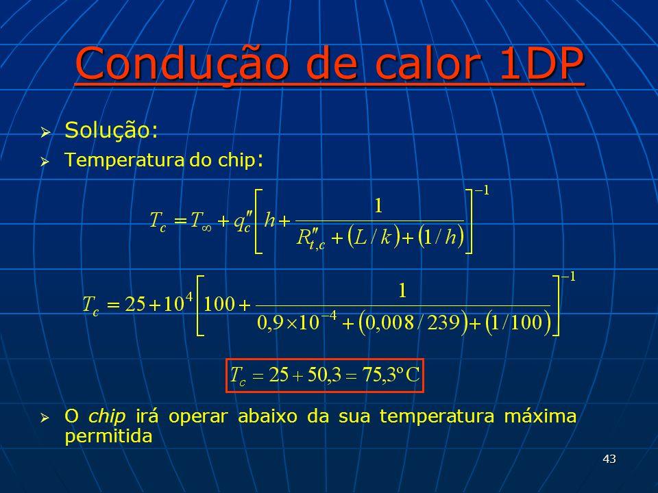 Condução de calor 1DP Solução: Temperatura do chip: