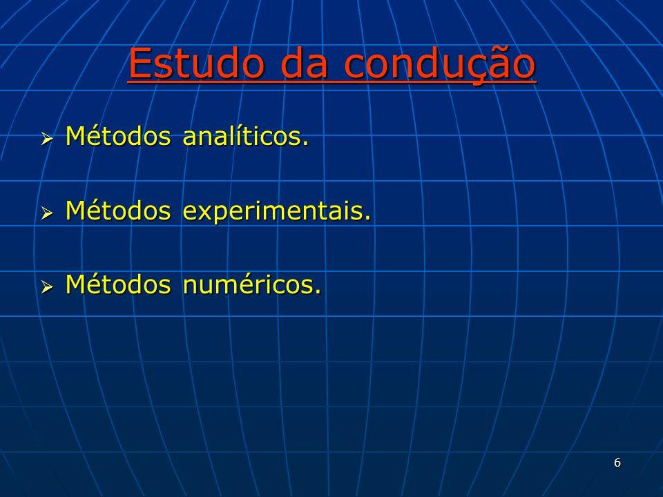 Estudo da condução Métodos analíticos. Métodos experimentais.