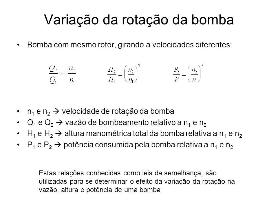Variação da rotação da bomba