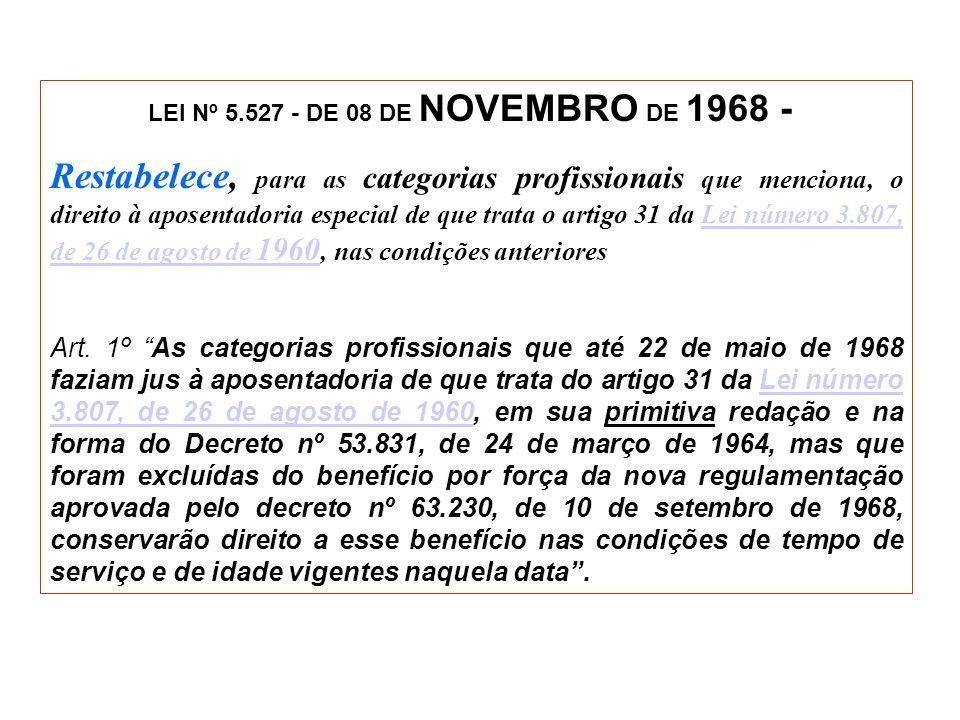 LEI Nº 5.527 - DE 08 DE NOVEMBRO DE 1968 -