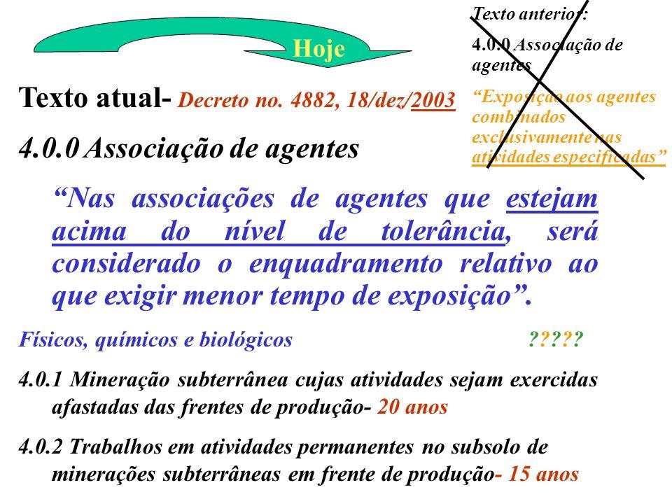 Texto atual- Decreto no. 4882, 18/dez/2003 4.0.0 Associação de agentes