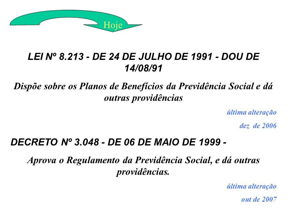 LEI Nº 8.213 - DE 24 DE JULHO DE 1991 - DOU DE 14/08/91