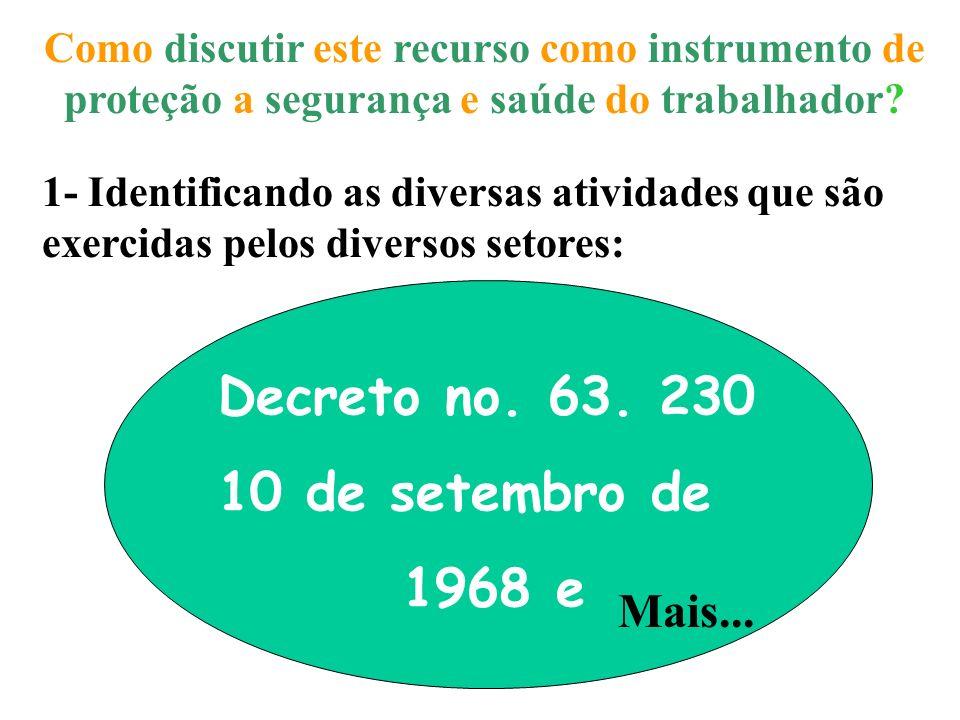 Decreto no. 63. 230 10 de setembro de 1968 e Mais...