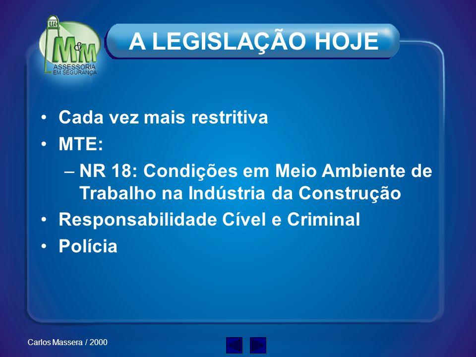 A LEGISLAÇÃO HOJE Cada vez mais restritiva MTE: