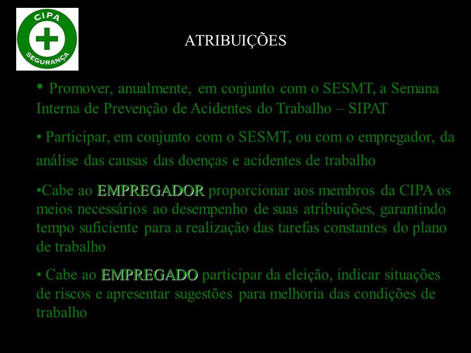 ATRIBUIÇÕES Promover, anualmente, em conjunto com o SESMT, a Semana Interna de Prevenção de Acidentes do Trabalho – SIPAT.