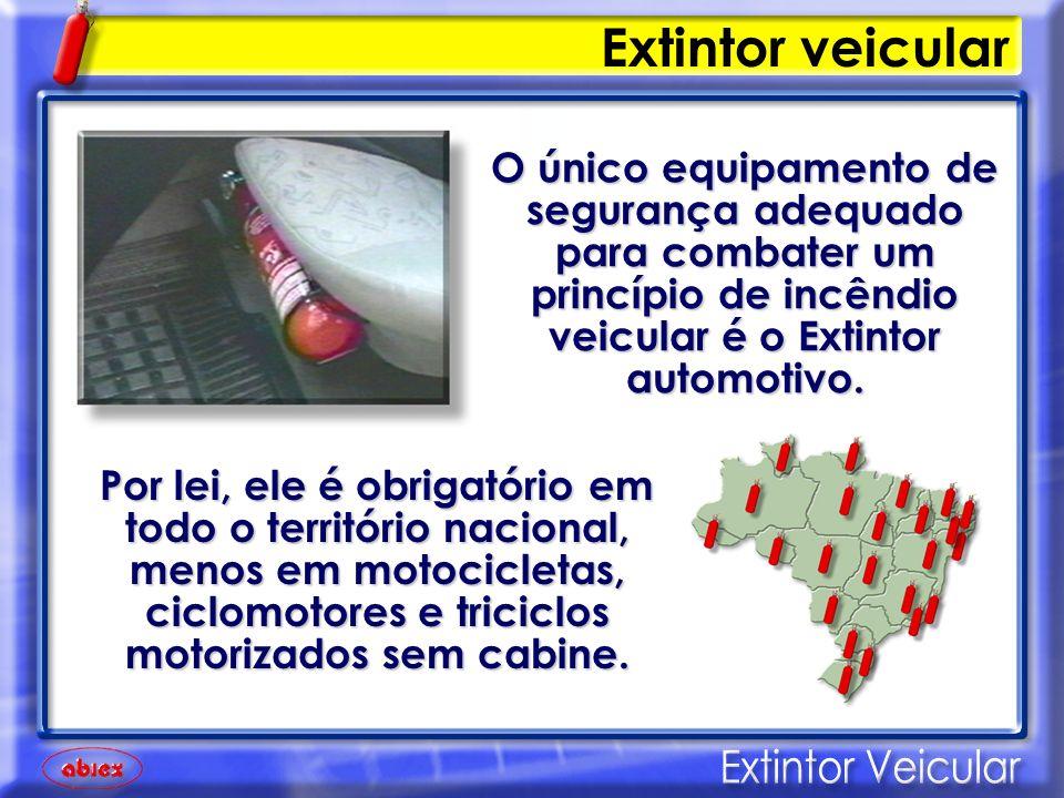 Extintor veicular O único equipamento de segurança adequado para combater um princípio de incêndio veicular é o Extintor automotivo.