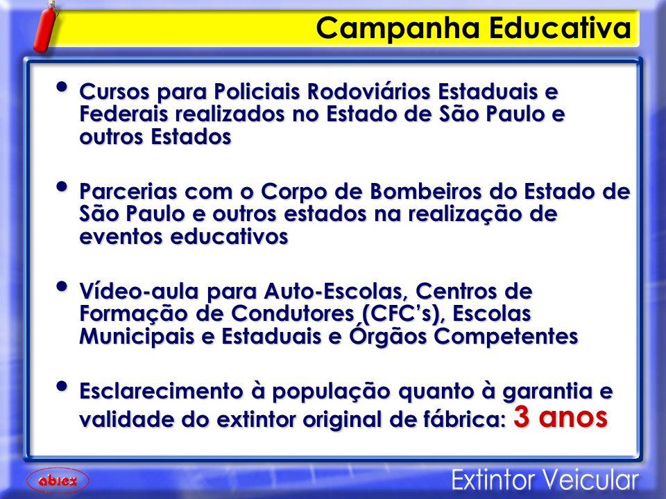 Campanha Educativa Cursos para Policiais Rodoviários Estaduais e Federais realizados no Estado de São Paulo e outros Estados.