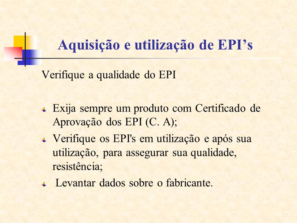 Aquisição e utilização de EPI's