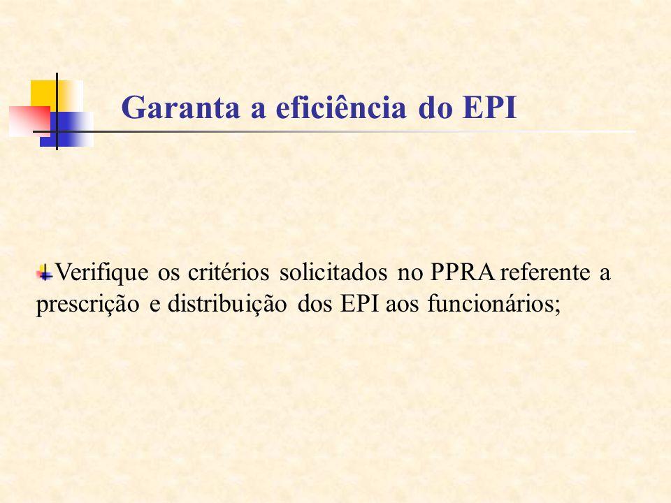 Garanta a eficiência do EPI
