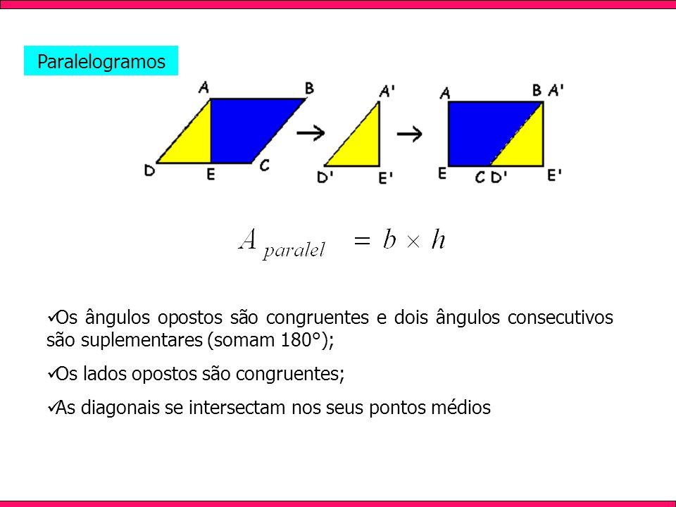 ParalelogramosOs ângulos opostos são congruentes e dois ângulos consecutivos são suplementares (somam 180°);