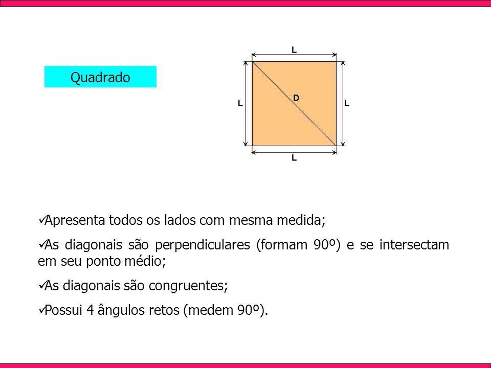 QuadradoApresenta todos os lados com mesma medida; As diagonais são perpendiculares (formam 90º) e se intersectam em seu ponto médio;