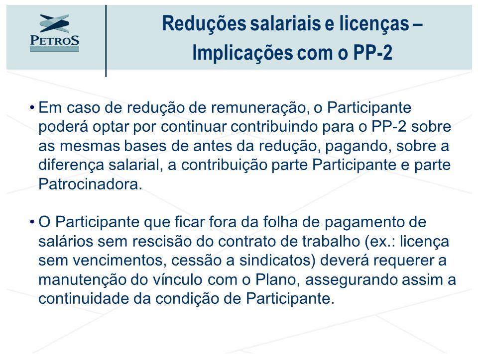 Reduções salariais e licenças – Implicações com o PP-2