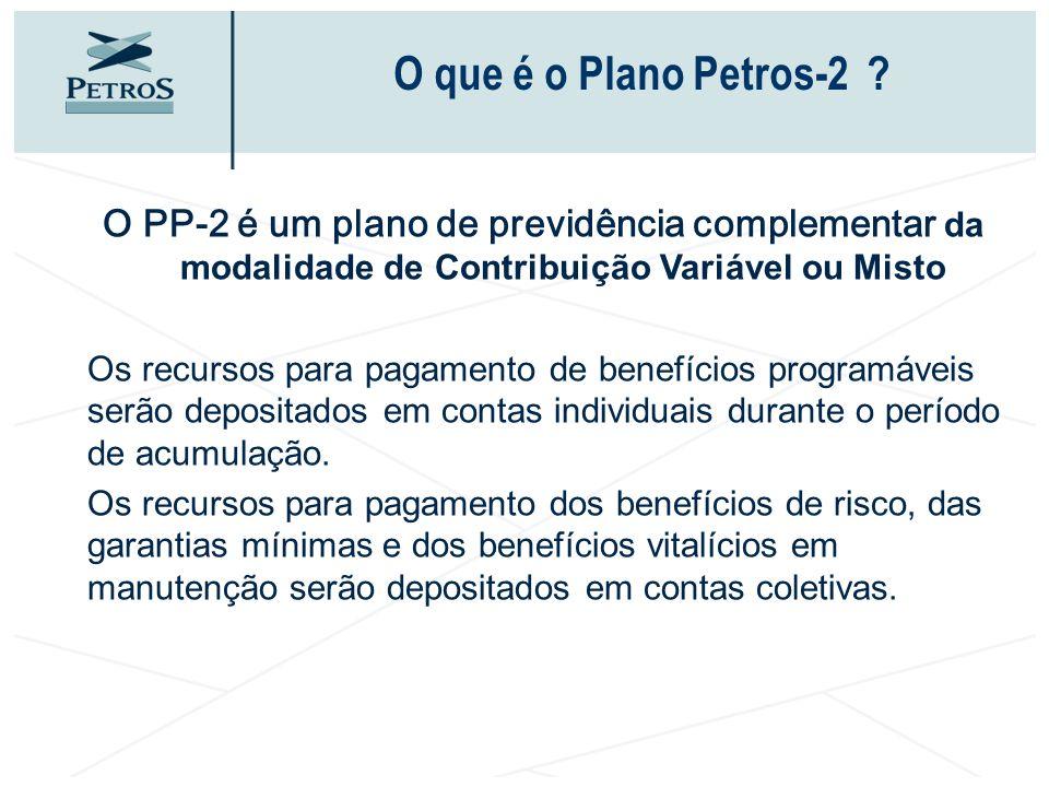 O que é o Plano Petros-2 O PP-2 é um plano de previdência complementar da modalidade de Contribuição Variável ou Misto.