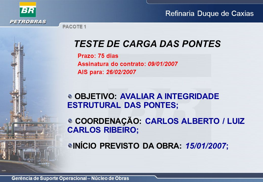 TESTE DE CARGA DAS PONTES