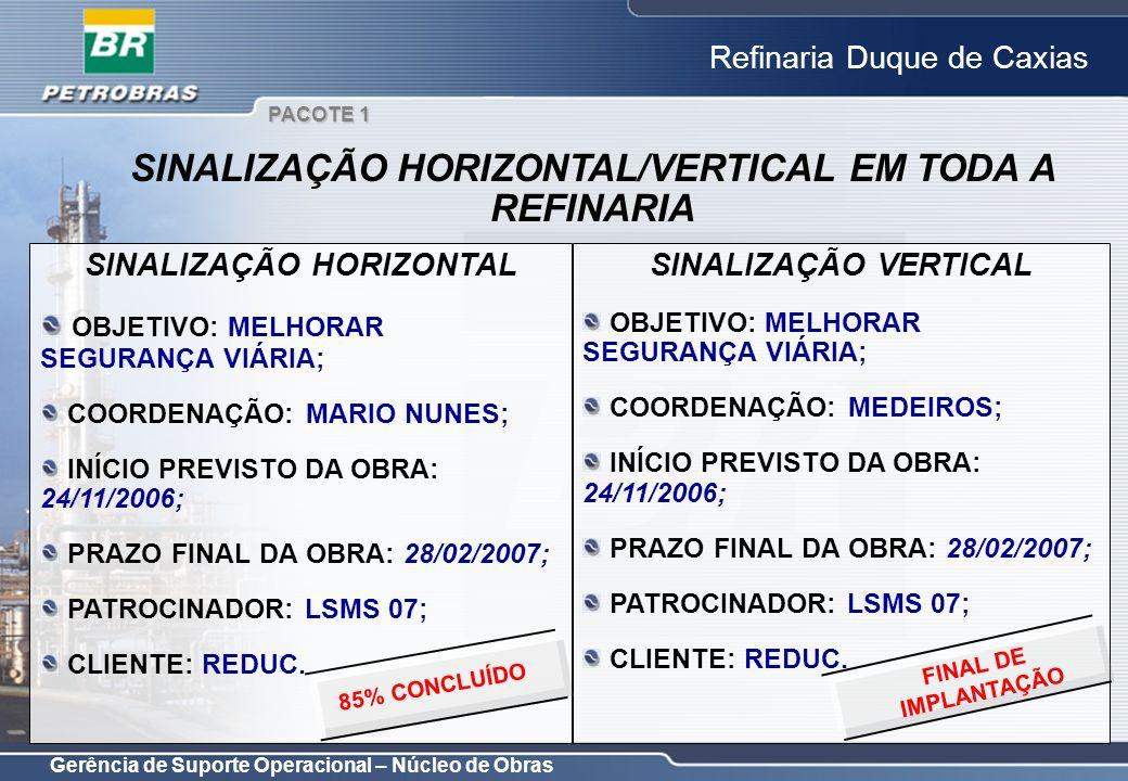 SINALIZAÇÃO HORIZONTAL/VERTICAL EM TODA A REFINARIA