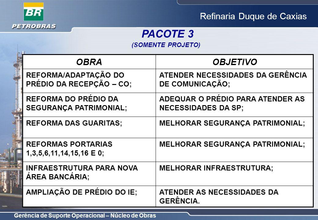 PACOTE 3 OBRA OBJETIVO REFORMA/ADAPTAÇÃO DO PRÉDIO DA RECEPÇÃO – CO;