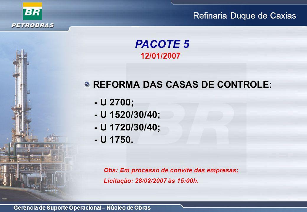 PACOTE 5 REFORMA DAS CASAS DE CONTROLE: - U 2700; - U 1520/30/40;