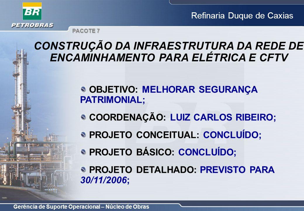 PACOTE 7 CONSTRUÇÃO DA INFRAESTRUTURA DA REDE DE ENCAMINHAMENTO PARA ELÉTRICA E CFTV. OBJETIVO: MELHORAR SEGURANÇA PATRIMONIAL;