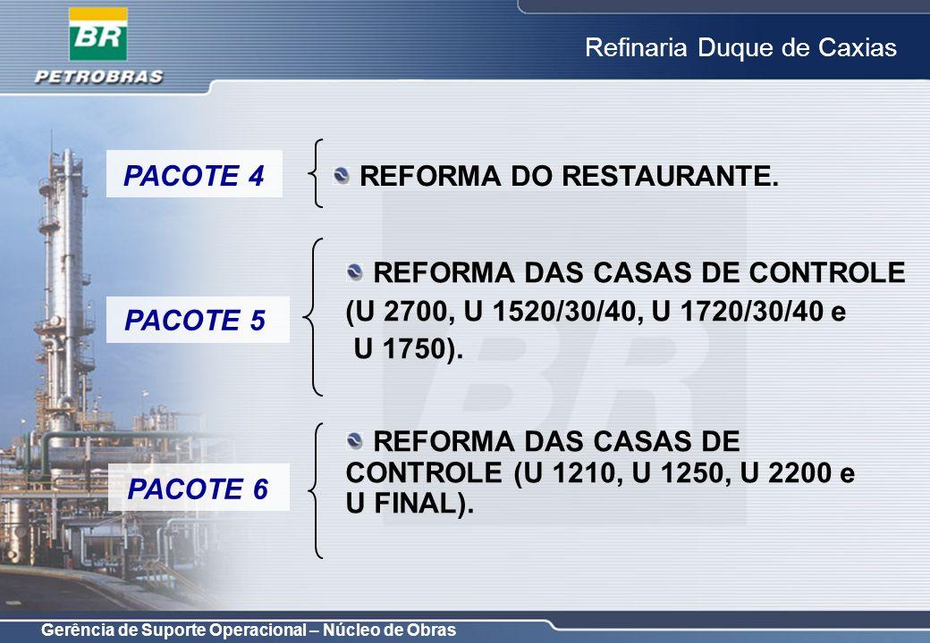 PACOTE 4 REFORMA DO RESTAURANTE. REFORMA DAS CASAS DE CONTROLE. (U 2700, U 1520/30/40, U 1720/30/40 e.