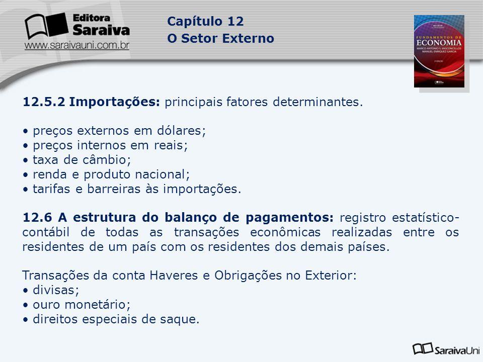 12.5.2 Importações: principais fatores determinantes.