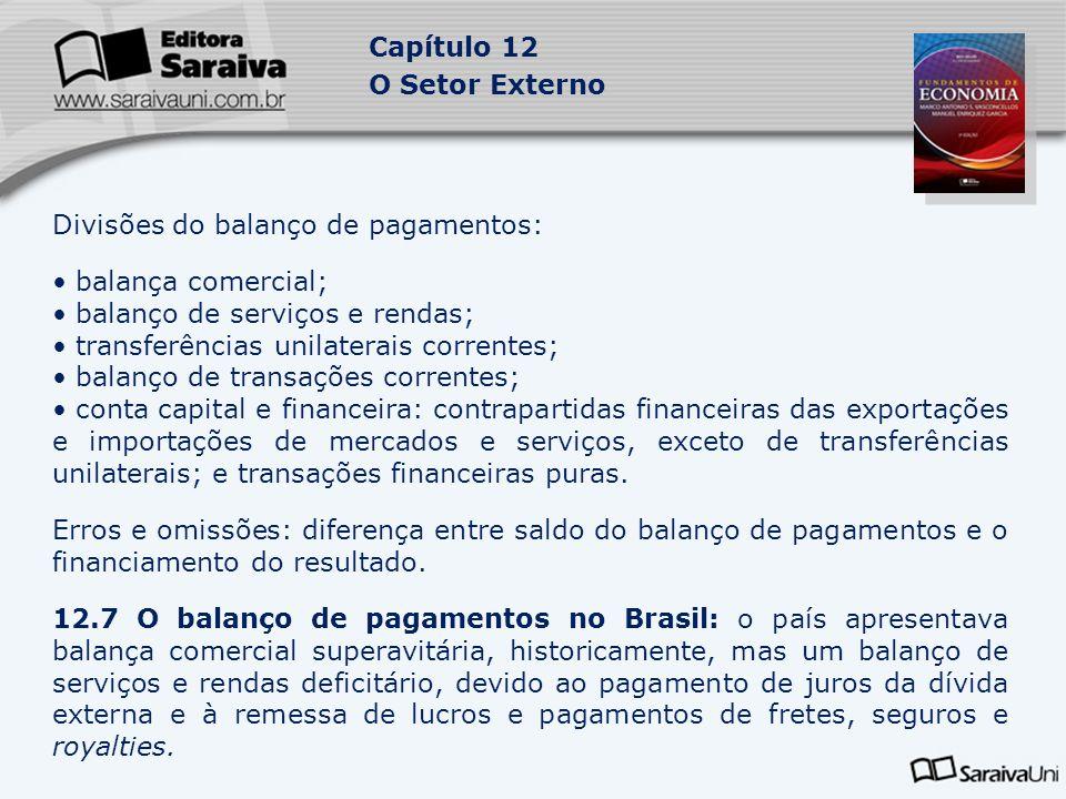 Divisões do balanço de pagamentos: balança comercial;