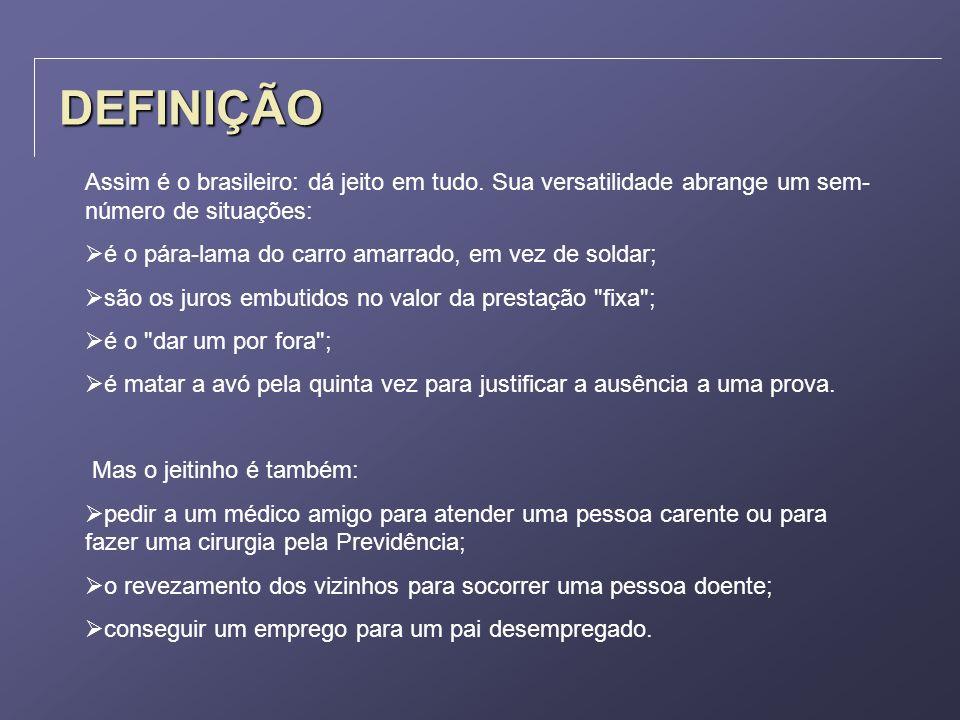 DEFINIÇÃOAssim é o brasileiro: dá jeito em tudo. Sua versatilidade abrange um sem-número de situações: