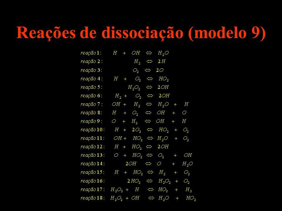 Reações de dissociação (modelo 9)