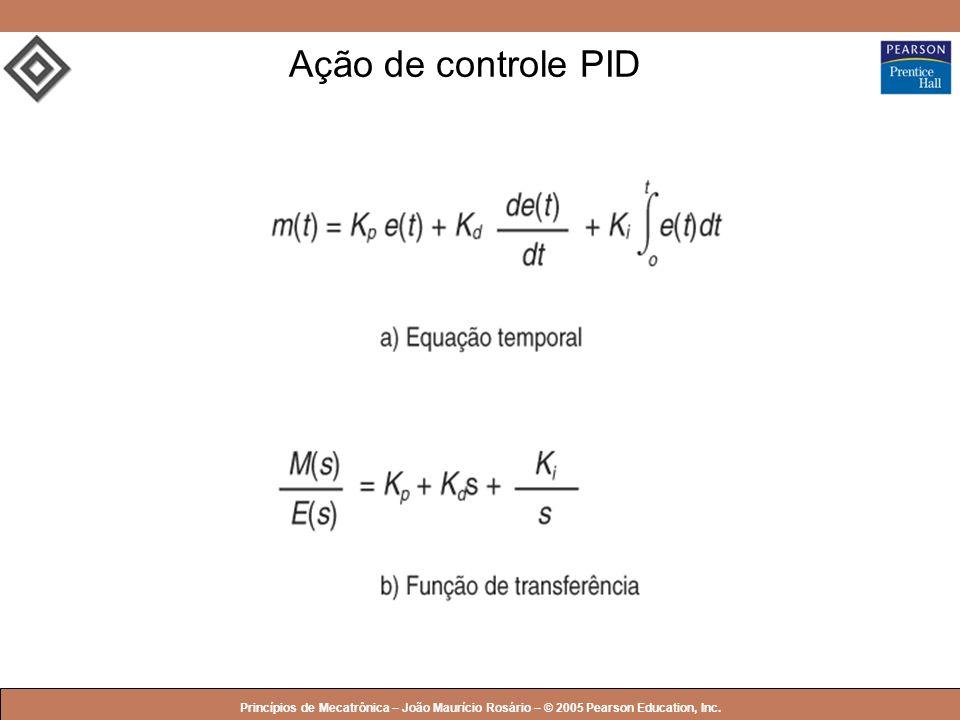 Ação de controle PID Princípios de Mecatrônica – João Maurício Rosário – © 2005 Pearson Education, Inc.