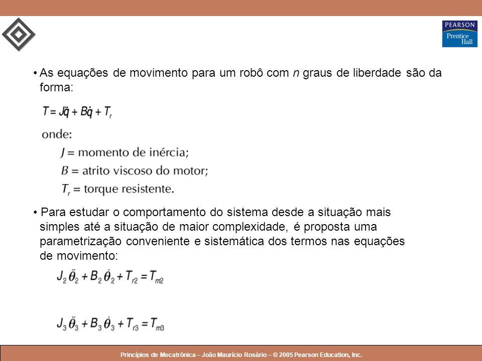 As equações de movimento para um robô com n graus de liberdade são da forma: