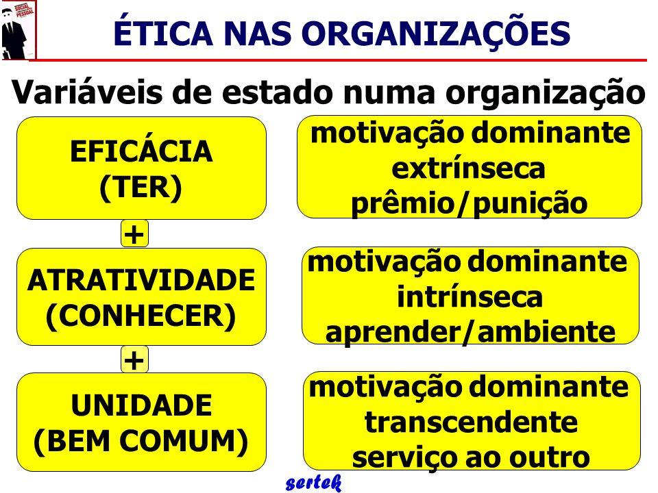 Variáveis de estado numa organização