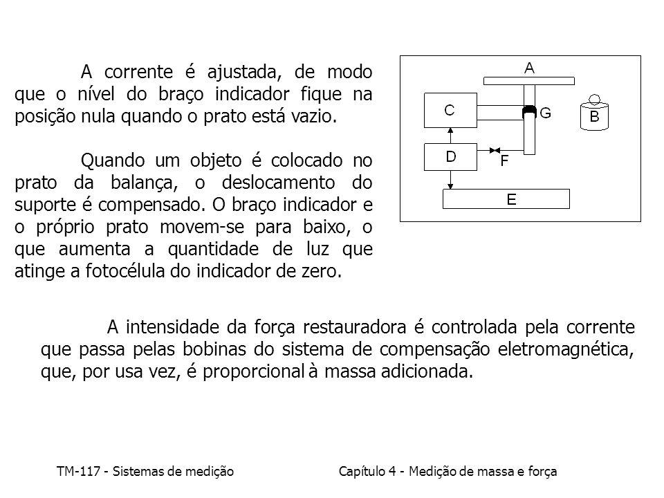 A corrente é ajustada, de modo que o nível do braço indicador fique na posição nula quando o prato está vazio.