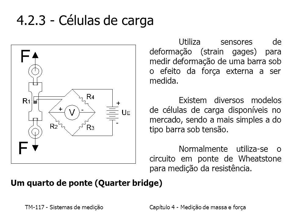 4.2.3 - Células de carga Utiliza sensores de deformação (strain gages) para medir deformação de uma barra sob o efeito da força externa a ser medida.