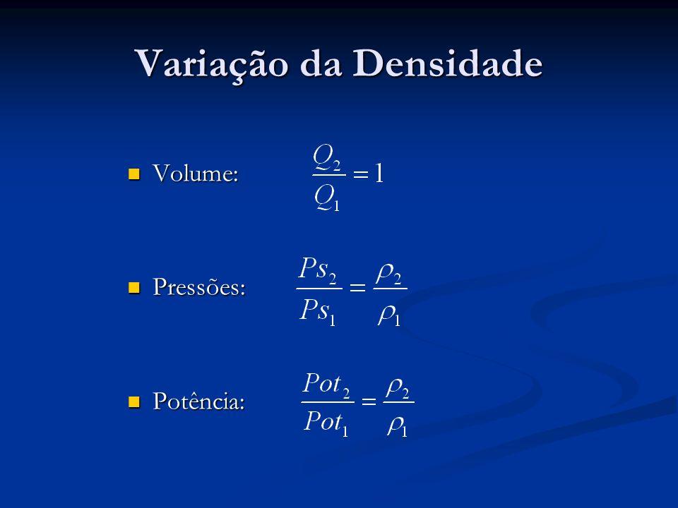 Variação da Densidade Volume: Pressões: Potência: