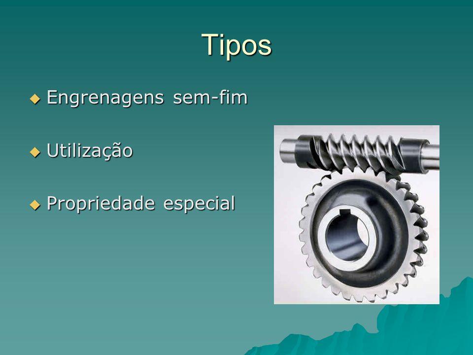 Tipos Engrenagens sem-fim Utilização Propriedade especial