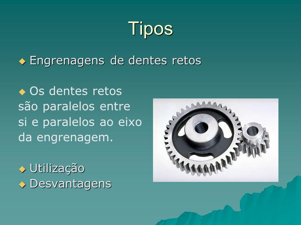Tipos Engrenagens de dentes retos Os dentes retos são paralelos entre