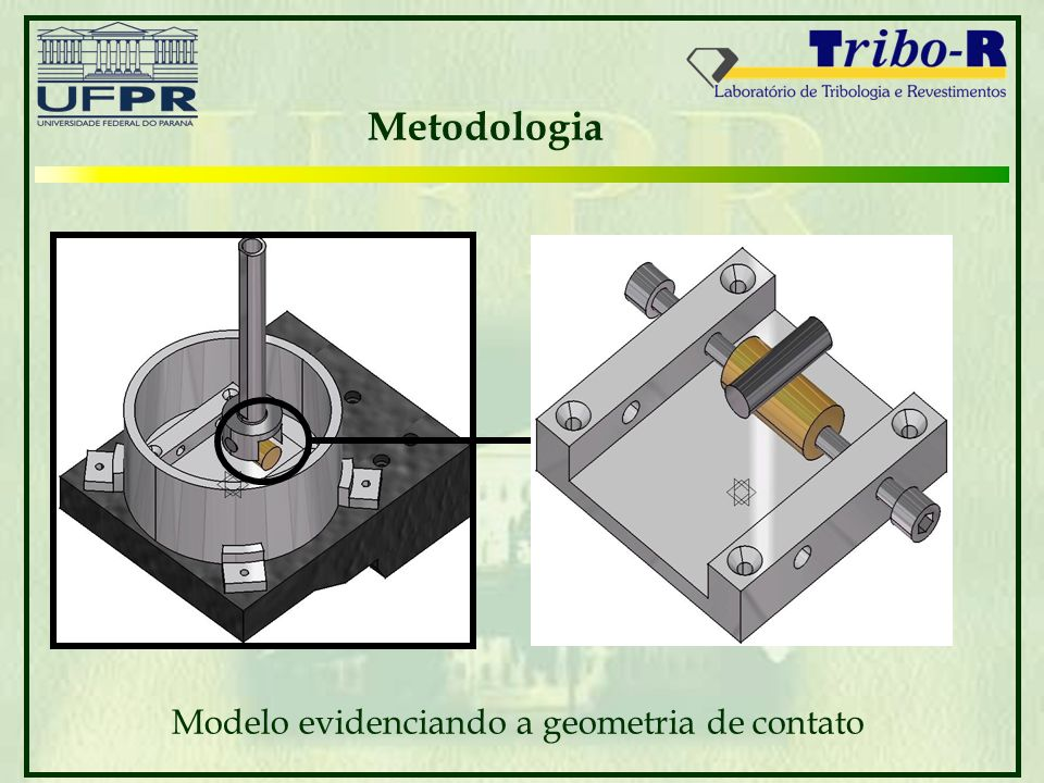 Modelo evidenciando a geometria de contato