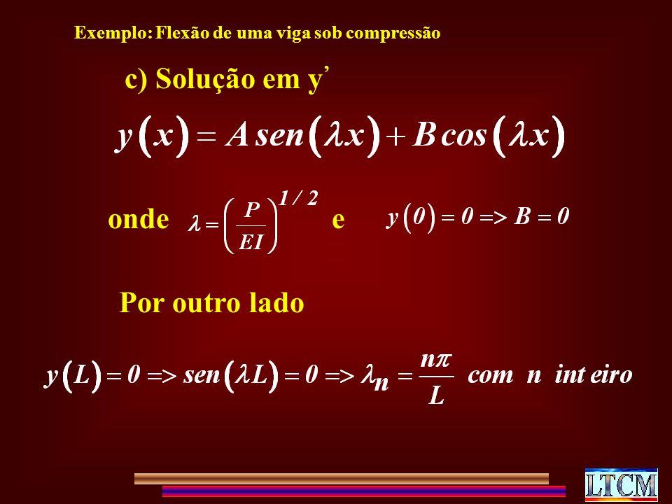 c) Solução em y' onde e Por outro lado