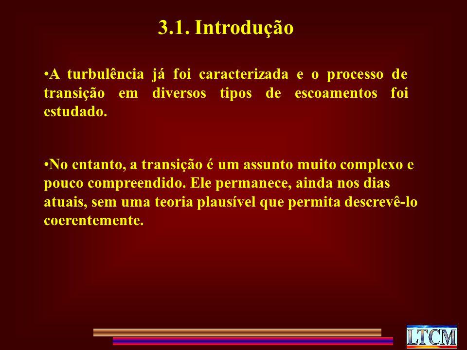 3.1. Introdução A turbulência já foi caracterizada e o processo de transição em diversos tipos de escoamentos foi estudado.