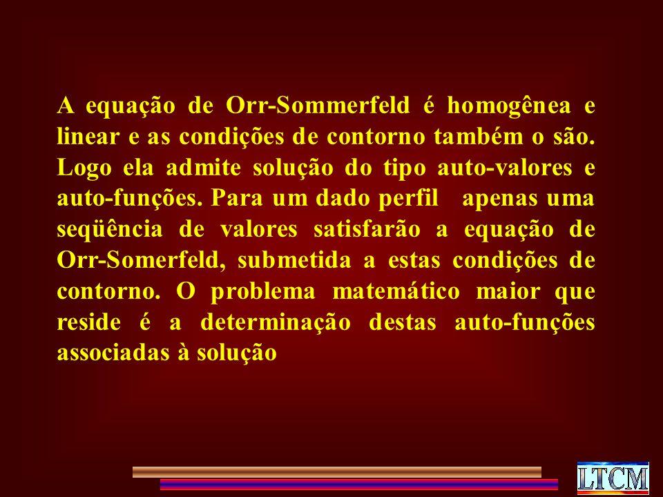 A equação de Orr-Sommerfeld é homogênea e linear e as condições de contorno também o são.