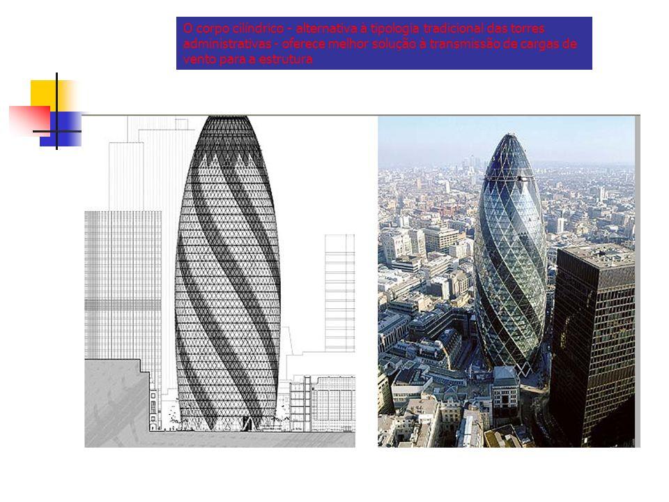 O corpo cilíndrico - alternativa à tipologia tradicional das torres administrativas - oferece melhor solução à transmissão de cargas de vento para a estrutura
