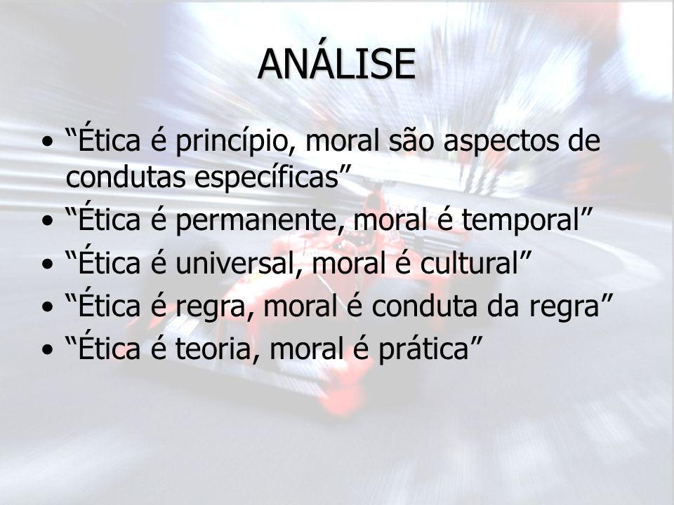 ANÁLISE Ética é princípio, moral são aspectos de condutas específicas Ética é permanente, moral é temporal