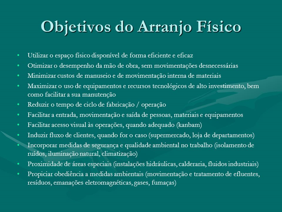 Objetivos do Arranjo Físico